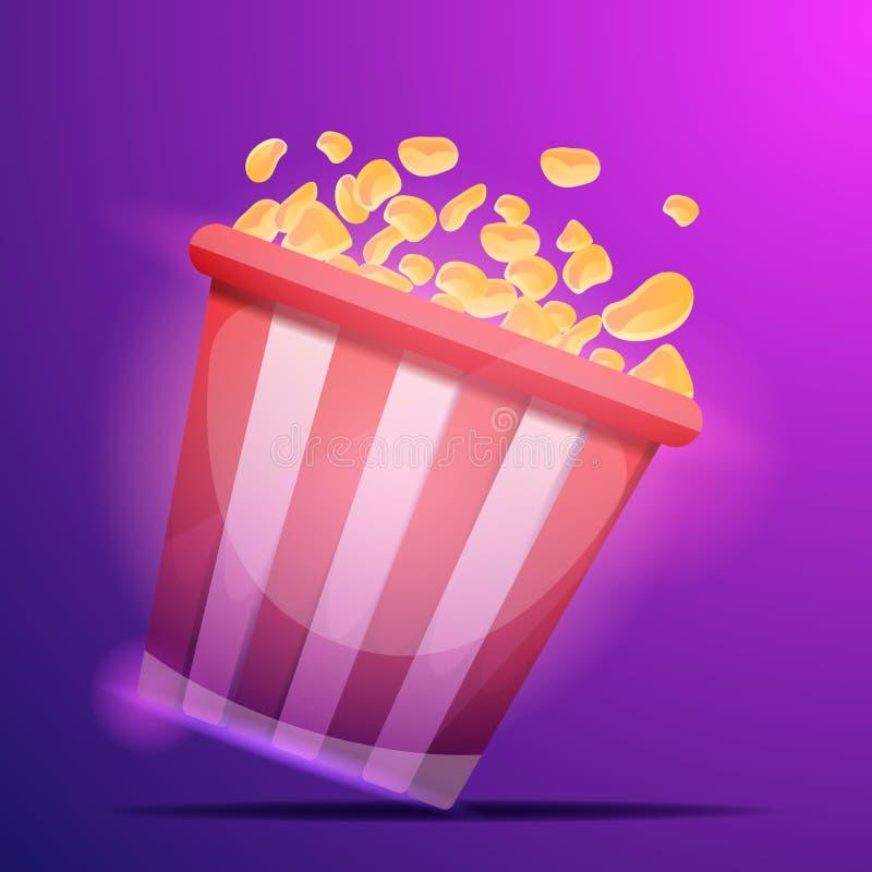 Popcorn κινηματογράφων υπόβαθρο έννοιας τσαντών, ύφος κινούμενων σχεδίων διανυσματική απεικόνιση