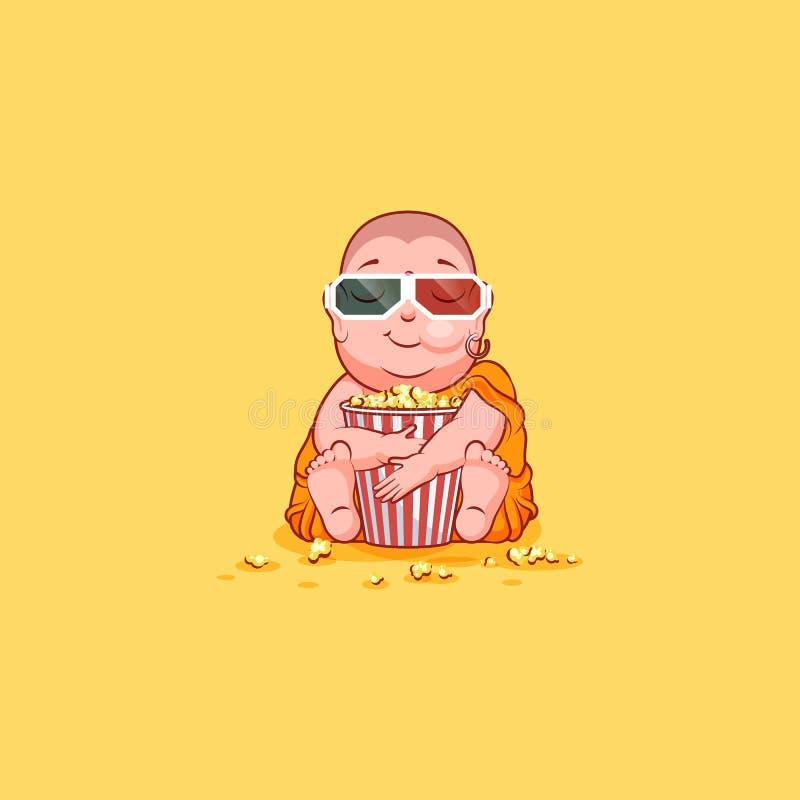 Popcorn μασήματος του Βούδα κινούμενων σχεδίων χαρακτήρα απεικόνισης συγκίνησης emoji αυτοκόλλητων ετικεττών emoticon απομονωμένη διανυσματική απεικόνιση