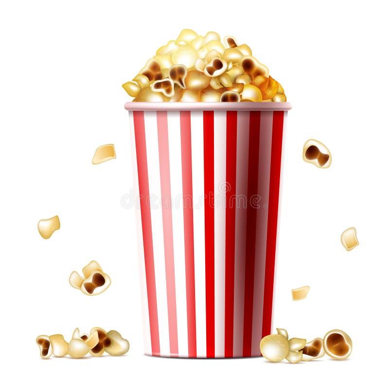 Popcorn ρεαλιστική διανυσματική απεικόνιση κάδων ελεύθερη απεικόνιση δικαιώματος