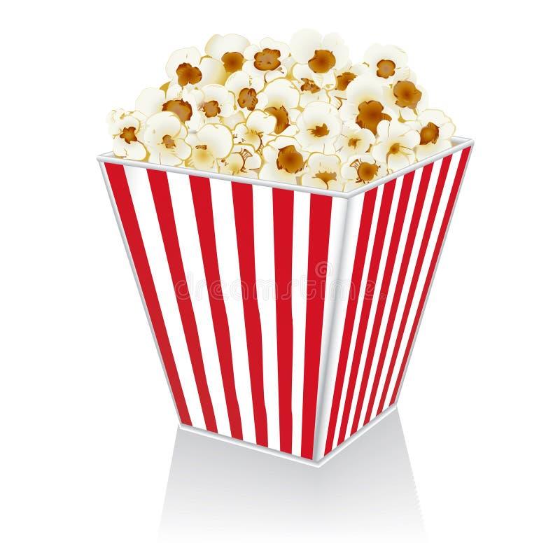 Popcorn σε ένα κιβώτιο σε ένα άσπρο υπόβαθρο απεικόνιση αποθεμάτων