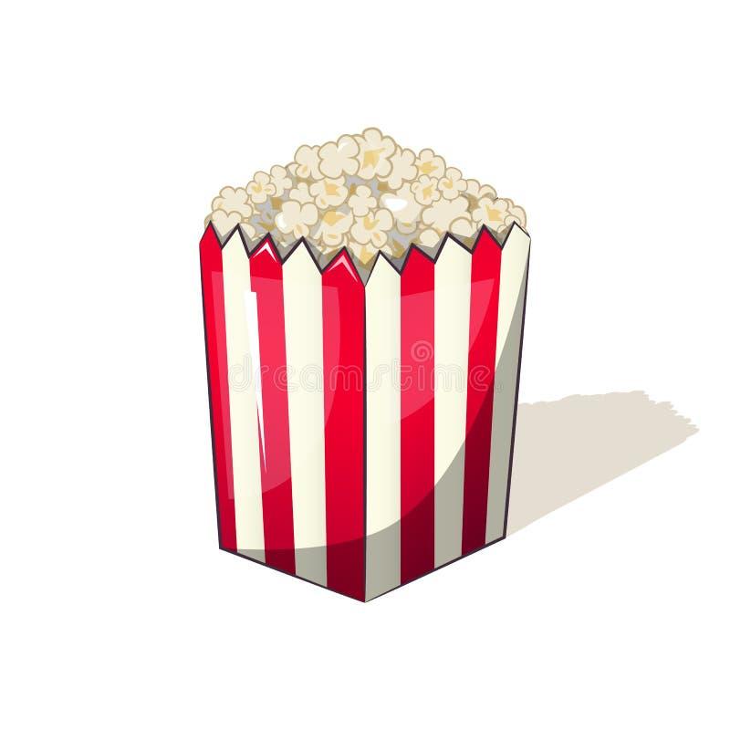 Popcorn σε ένα ριγωτό πρόχειρο φαγητό κάδων κιβωτίων κατά το προσοχή των κινηματογράφων απεικόνιση αποθεμάτων