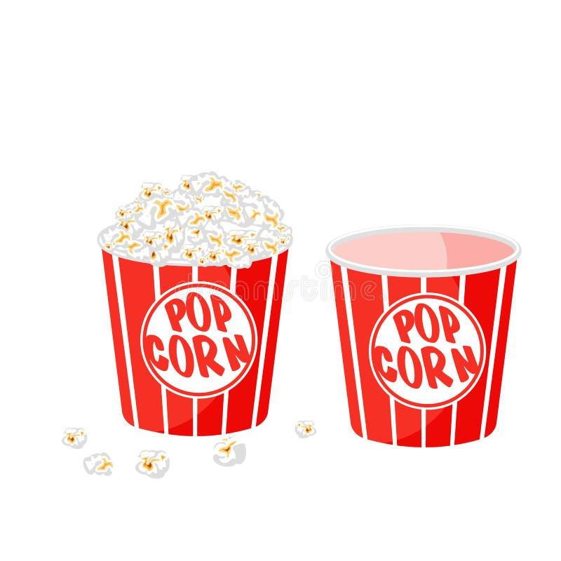 Popcorn σε μια ριγωτή σκάφη στο άσπρο υπόβαθρο διανυσματική απεικόνιση