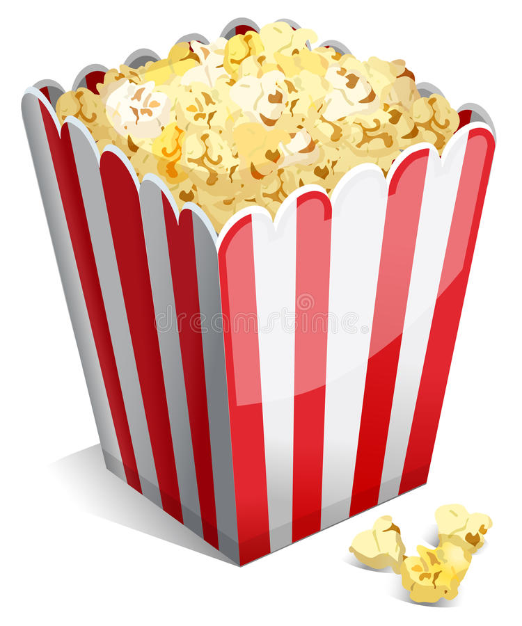 Popcorn σε μια ριγωτή σκάφη απεικόνιση αποθεμάτων