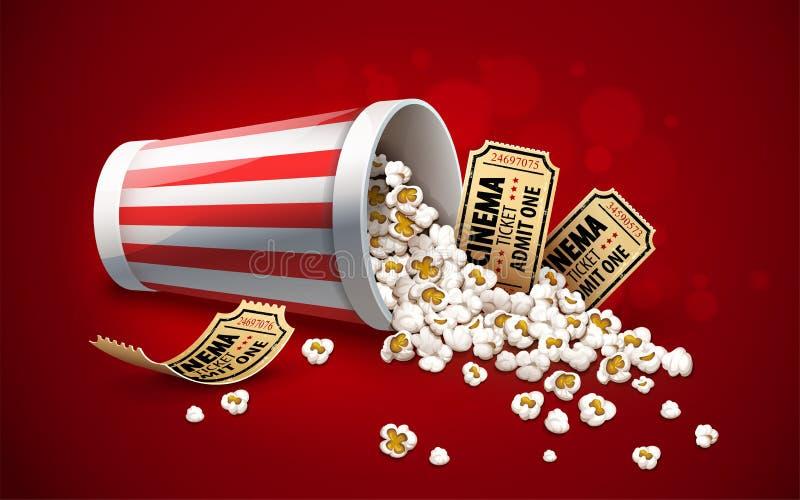 Popcorn στον κάδο εγγράφου Πλήρες φλυτζάνι και χρυσά εισιτήρια κινηματογράφων r απεικόνιση αποθεμάτων