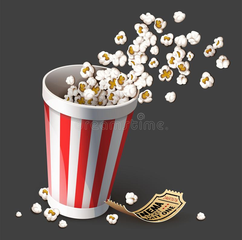 Popcorn στον κάδο εγγράφου Πλήρες φλυτζάνι και χρυσό εισιτήριο κινηματογράφων r διανυσματική απεικόνιση