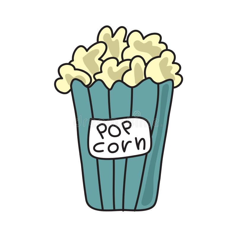 Popcorn στο πράσινο κιβώτιο κάδων Απεικόνιση, που απομονώνεται διανυσματική στο λευκό απεικόνιση αποθεμάτων