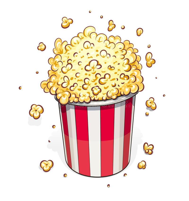 Popcorn στο ριγωτό καλάθι απεικόνιση αποθεμάτων