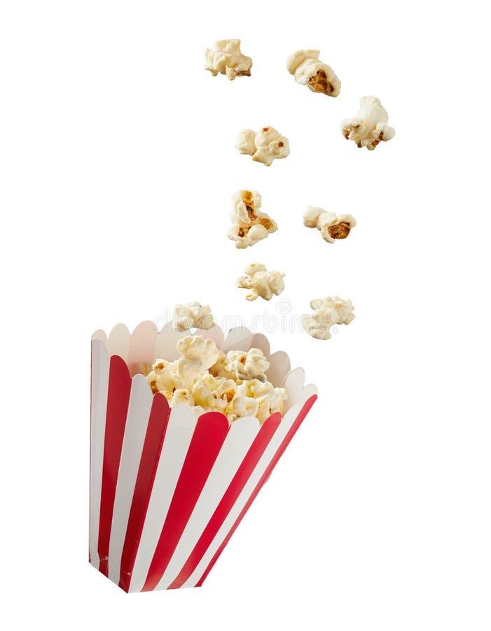 Popcorn στο ριγωτό κιβώτιο εγγράφου στοκ φωτογραφία