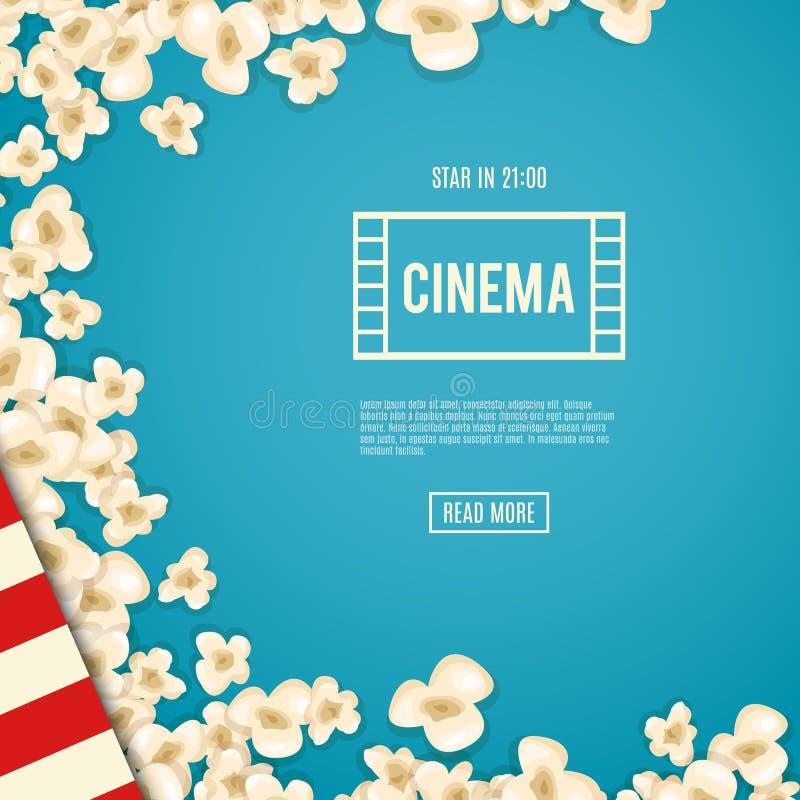 Popcorn σωρών για τον κινηματογράφο βρίσκεται στο μπλε υπόβαθρο ελεύθερη απεικόνιση δικαιώματος