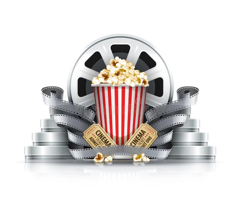 Popcorn ταινία-λουρίδες και δίσκοι με τα εισιτήρια κινηματογράφων στη κινηματογραφική αίθουσα απεικόνιση αποθεμάτων