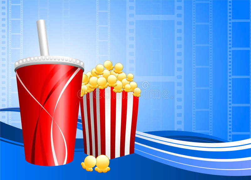 popcorn ταινιών ανασκόπησης σόδα απεικόνιση αποθεμάτων