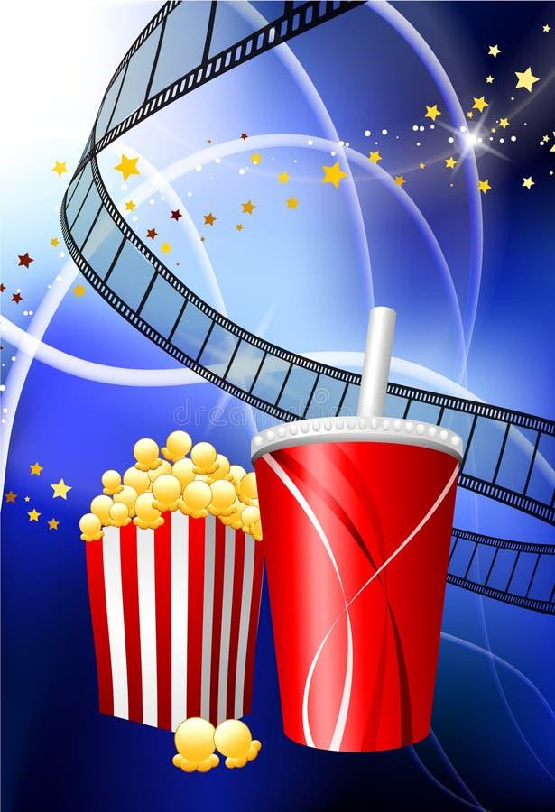 popcorn ταινιών ανασκόπησης σόδα &e ελεύθερη απεικόνιση δικαιώματος