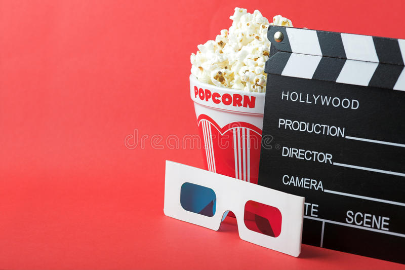 Popcorn, 3D Glasses & Clapperboard Royalty Free Stock Photo