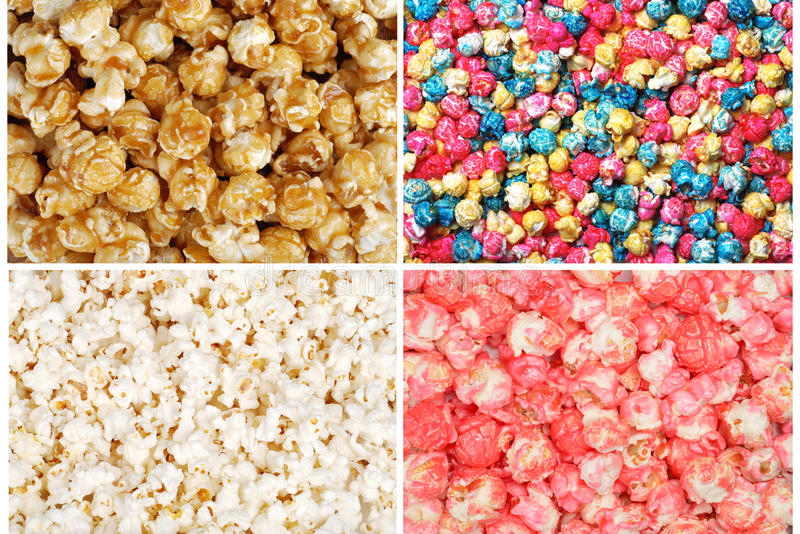 Popcorn assortito immagini stock