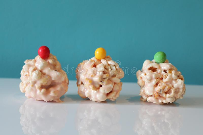 Popcorn balls stock images