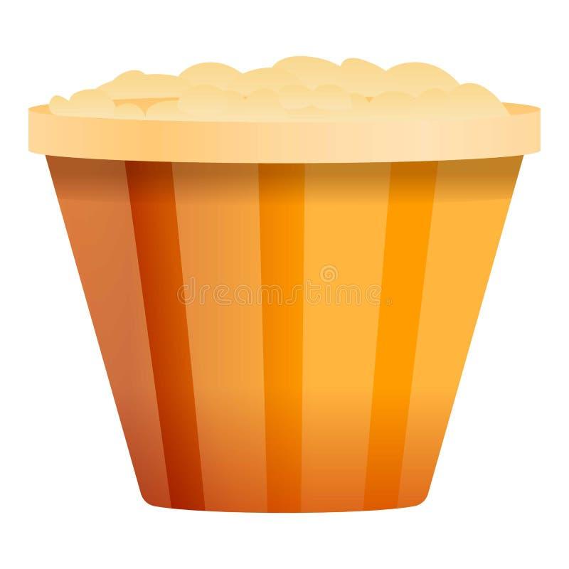 Popcorn basket icon, cartoon style. Popcorn basket icon. Cartoon of popcorn basket vector icon for web design isolated on white background vector illustration