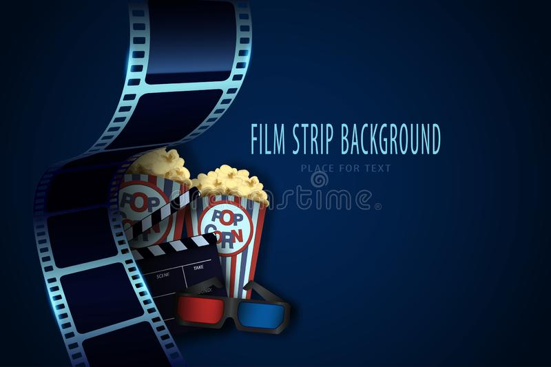 Popcorn box, cinema glasses and clapper board on the film strip background. Movie poster template for the film industry vector illustration