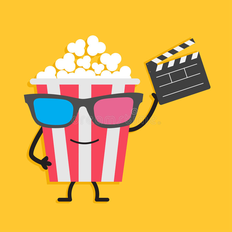 Popcorn box in 3D glasses. Character with face, legs and hands. Clapper board. Cinema icon Flat design style. royalty free illustration