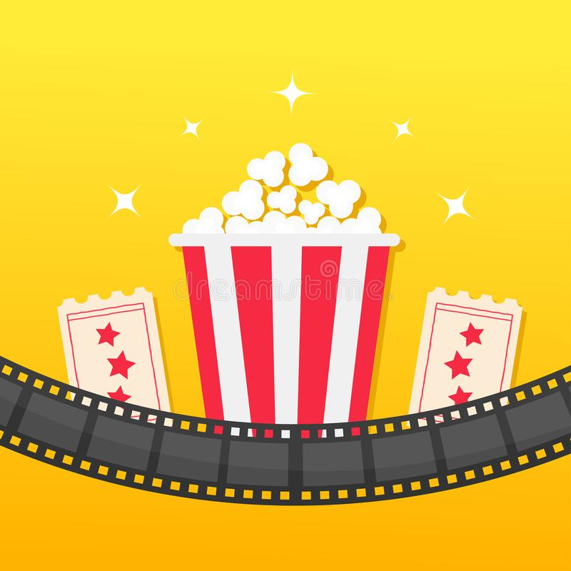 Popcorn box. Film strip rounded. Two tickets admit one. Cinema icon set in flat design style. Pop corn icon. Yellow gradient backg. Round. Shining stars. Vector stock illustration