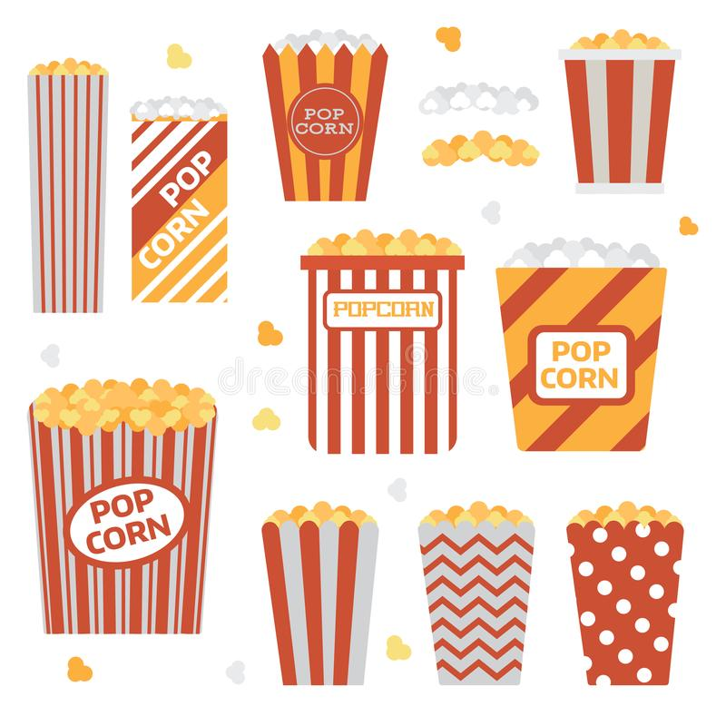 Popcorn Boxes Icon Set. Stripped and polka dotted paper eco friendly recyclable takeout bucket box with corn. Classic movie and theater snack. Fast food or stock illustration