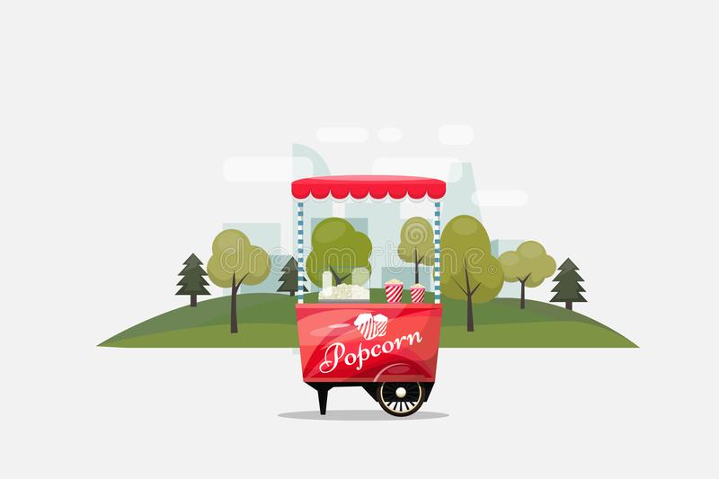 Popcorn cart, kiosk on wheels, retailers, sweets and confectionery products, and flat style on transparent stock illustration