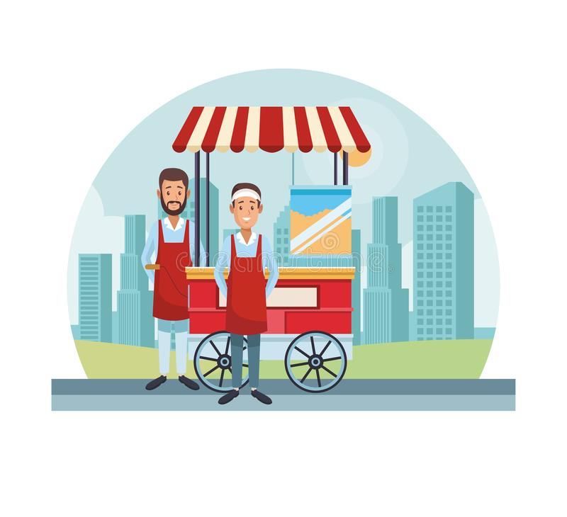 Popcorn cart at city stock illustration