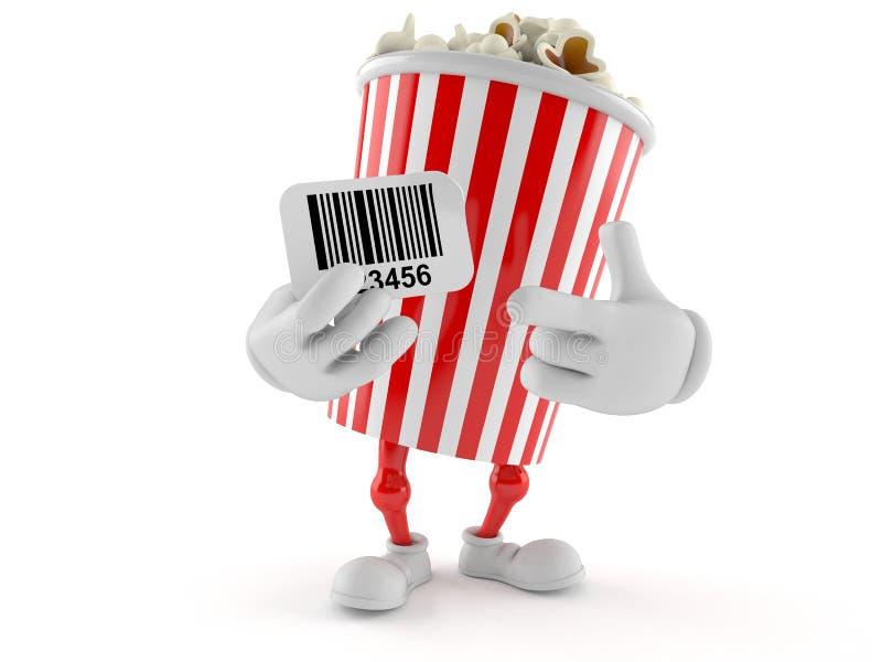 Popcorn character holding barcode. Isolated on white background. 3d illustration stock illustration