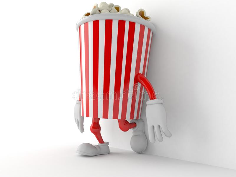 Popcorn character leaning on wall on white background stock illustration