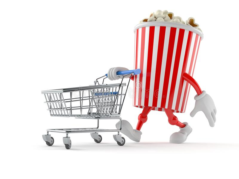 Popcorn character with shopping cart vector illustration