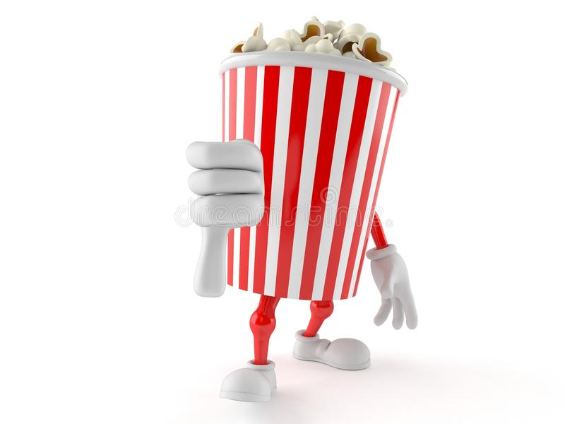 Popcorn character with thumb down. On white background stock illustration