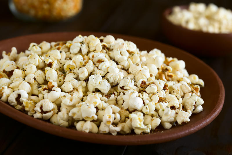 Popcorn with Cheese, Oregano and Garlic royalty free stock images