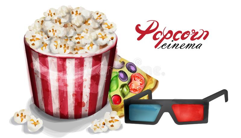 Popcorn and cinema glasses Vector watercolor. movie concept posters vector illustration