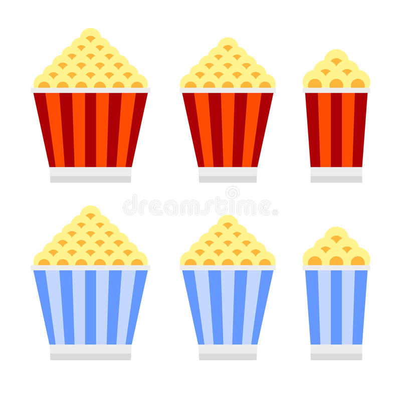 Popcorn Cinema Icon Set. Flat Design Style. Vector royalty free illustration
