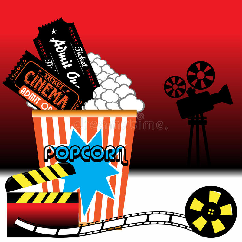Popcorn and cinema tickets. Abstract colorful background with movie projector shape, clapboard, film reel, popcorn and two cinema tickets royalty free illustration