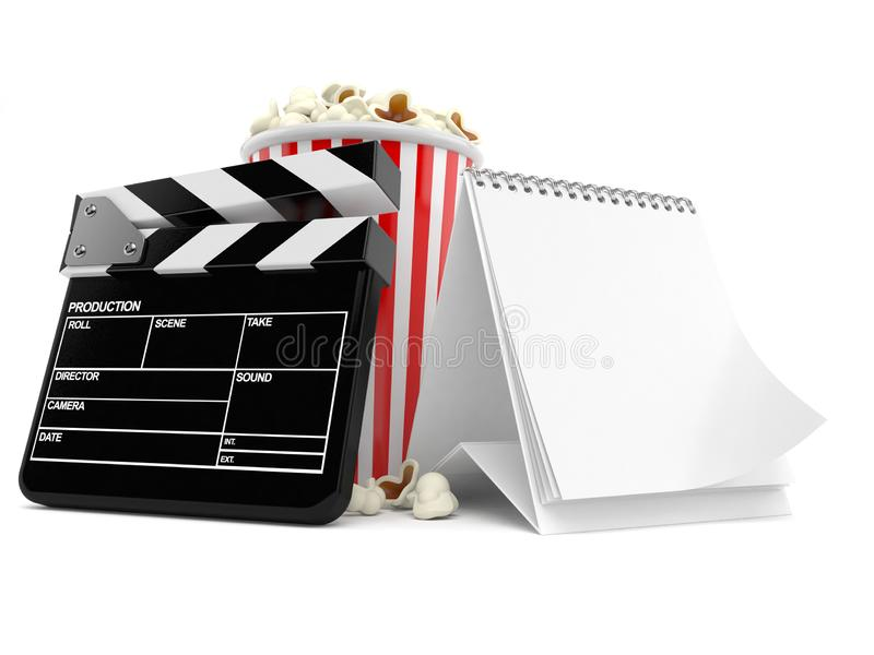 Popcorn and clapboard with blank calendar. Isolated on white background. 3d illustration royalty free illustration