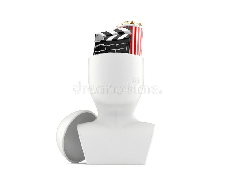 Popcorn and clapboard inside head. Isolated on white background. 3d illustration royalty free illustration
