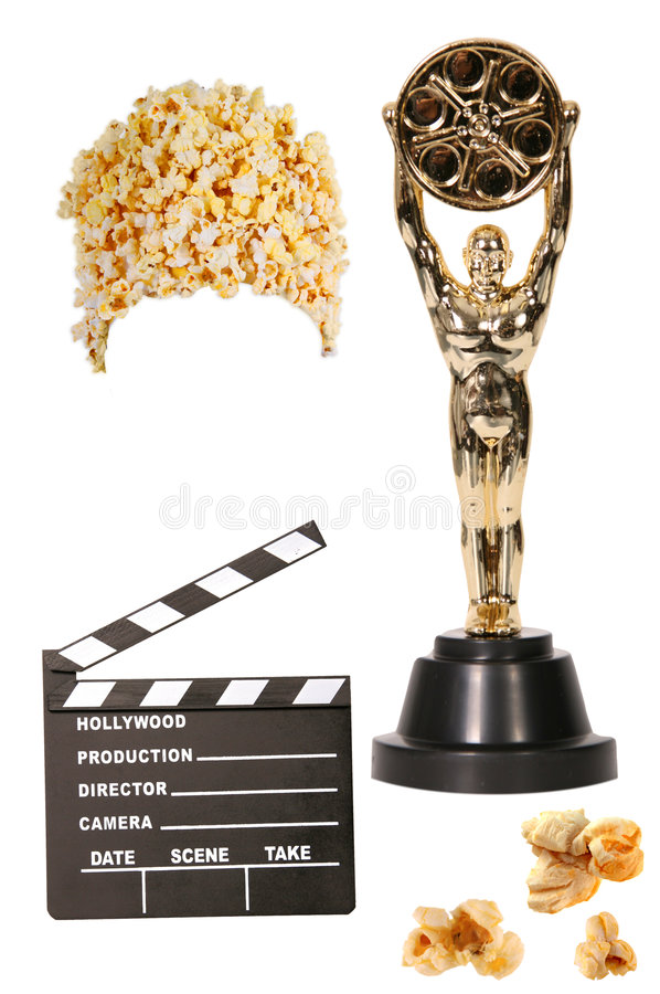 Free Popcorn, Clapper, And Statue Isolated Royalty Free Stock Image - 2087576