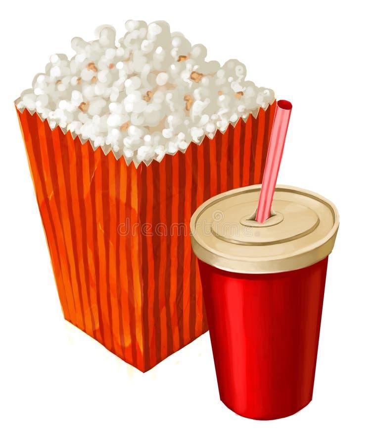 Download Popcorn and cola stock illustration. Illustration of junk - 22027106