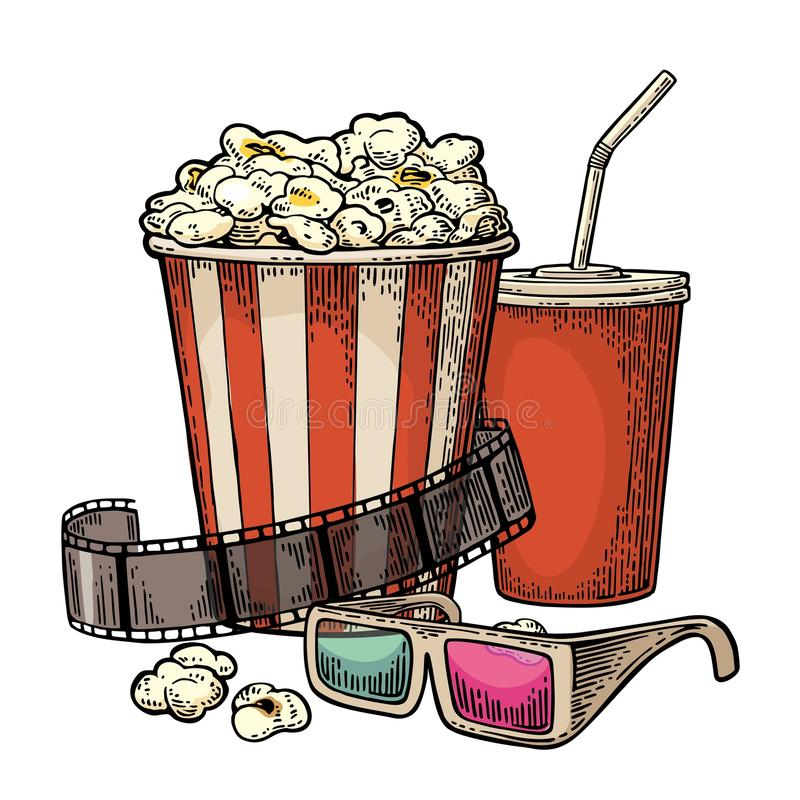 Popcorn, cup for beverages with straw, film strip and 3D glasses for cinema. vector illustration