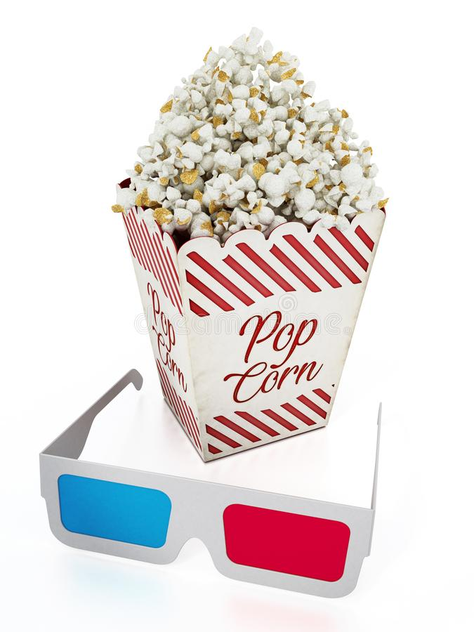 Popcorn and 3D anaglyph glasses isolated on white background. 3D illustration.  stock illustration