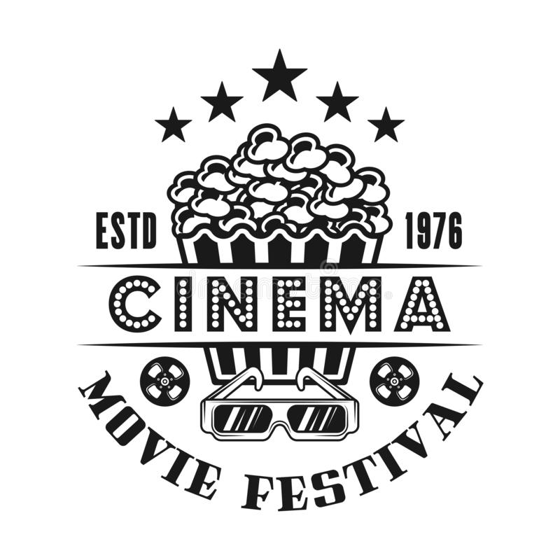 Popcorn and 3d glasses vector emblem for cinema. Popcorn and 3d glasses vector emblem, label, badge or logo for cinema in monochrome vintage style isolated on stock illustration