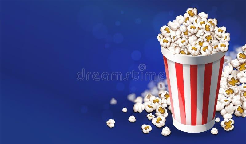 Popcorn in document emmer Het online concept van de filmsbioskoop Vector illustratie royalty-vrije illustratie