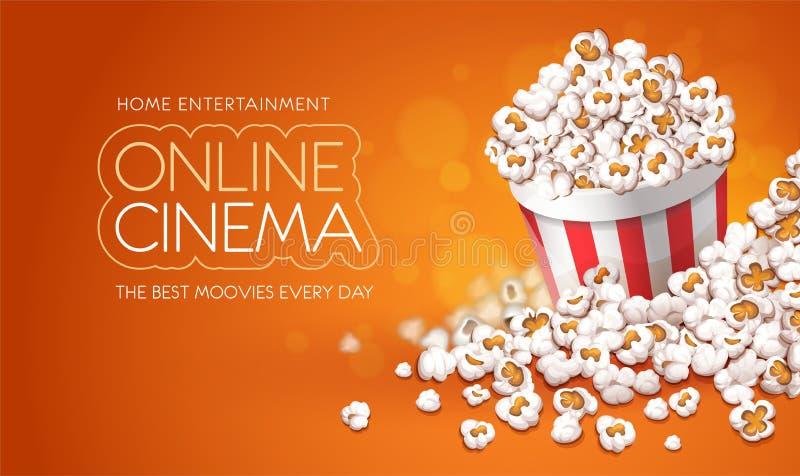 Popcorn in document emmer Het online concept van de filmsbioskoop Vector illustratie stock illustratie