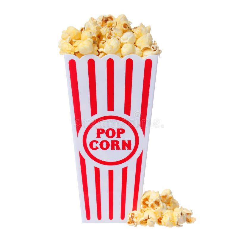 Popcorn in doos die op wit wordt geïsoleerd stock foto's
