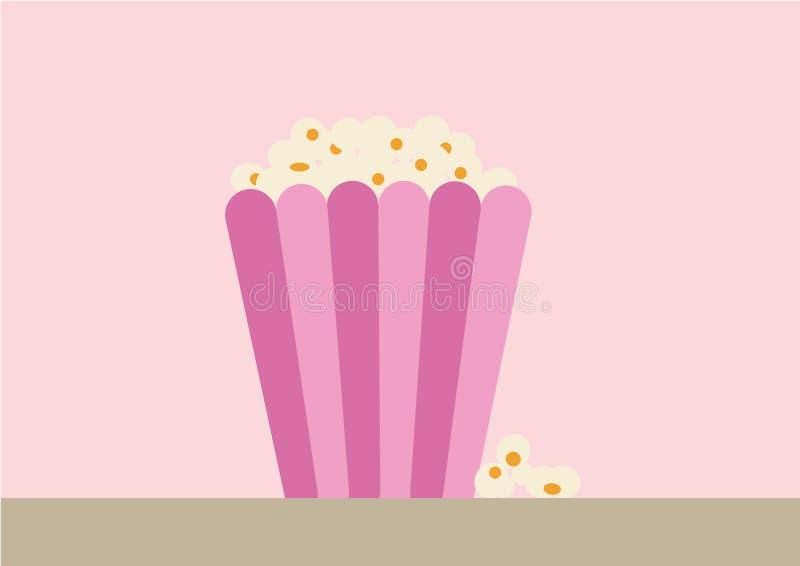 Popcorn in een lilic document pak royalty-vrije illustratie