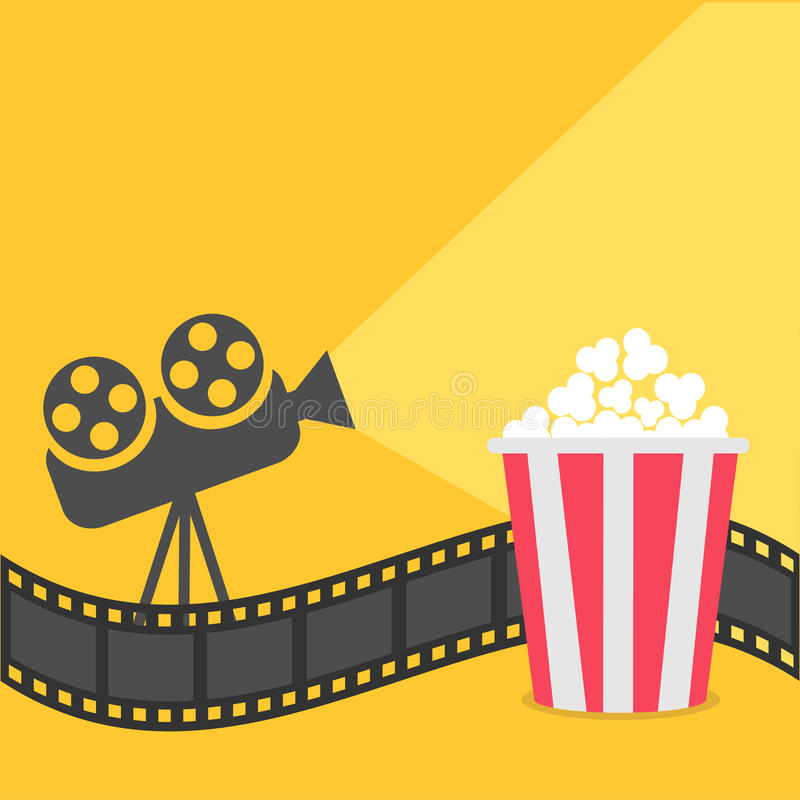 Popcorn. Film strip border. Cinema projector with ray of light. Cinema movie night icon in flat design style. Yellow background. Vector illustration vector illustration
