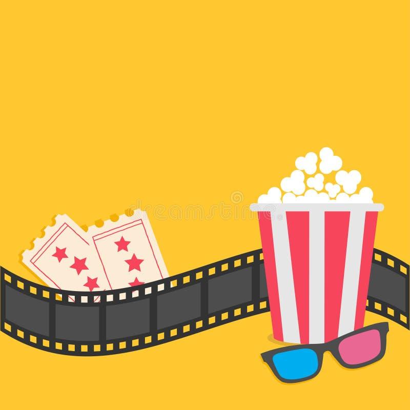 Popcorn. Film strip border. 3D glasses. Tickets. Red striped box. Cinema movie night vector illustration