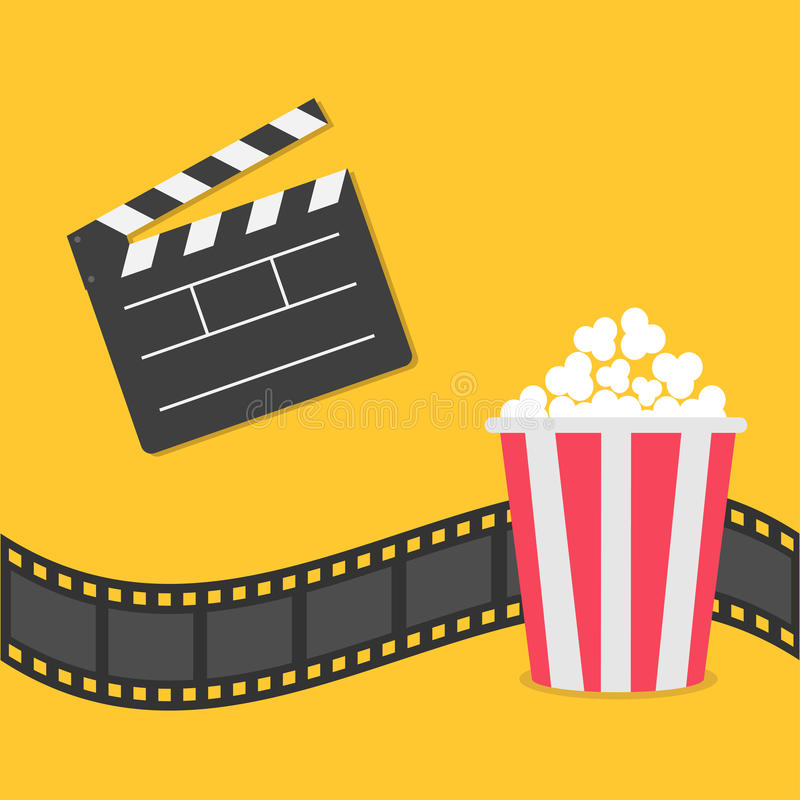Popcorn. Film strip border. Open movie clapper board icon. Red yellow box. Cinema movie night icon in flat design style. royalty free illustration