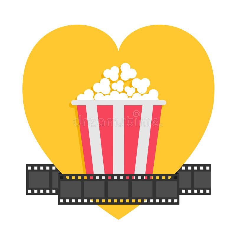 popcorn Filmstreifen-Bandlinie Roter gelber Kasten Getrennt auf Weiß Ich liebe Filmkino-Nachtikone in der flachen Entwurfsart gel stock abbildung