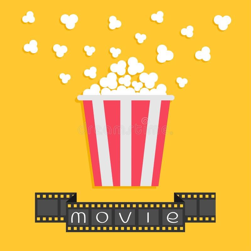 popcorn Filmstreifenband Roter gelber Kasten Kinofilmnachtikone in der flachen Designart vektor abbildung